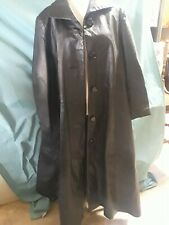 Via Accenti Men's Black Leather Trenchcoat,  B0 (XXL)