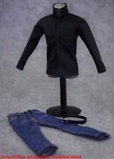 "1/6 Scale Black Shirt & Jeans Pants Belt Male Clothes Set For 12"" Figure Body"