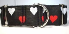 "1.5 inch Martingale Dog Collar, Medium 13-18"" Satin Lined, Black Hearts"
