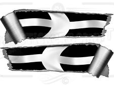 Pair of Rolled Back Ripped torn Metal Effect Cornish Flag  Vinyl Car Stickers