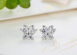925 sterling silver cute crystal butterfly woman girls kids stud earrings
