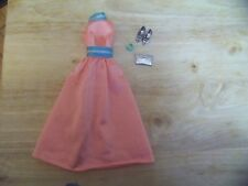 Barbie Doll Authentic Clothing Peach Colored Gown, Purse, Shoes, Bracelet