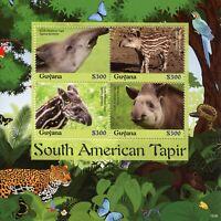 Guyana 2018 MNH South American Tapir 4v M/S Tapirs Mammals Wild Animals Stamps