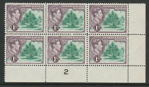 Gilbert & Ellice Is.1939-55 1d shade in Plate block CW 2a Mnh.
