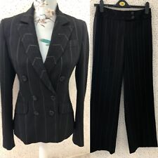 Karen Millen Ladies Black Pin Stripe Smart Work Trouser & Suit Jacket Size 8