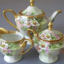 Lovely Antique HP Porcelain Tea Pot Sugar + Creamer PINK Wild ROSES Lush GILT
