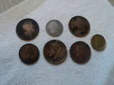 1900 VICTORIAN SILVER SHILLING COIN & SOME OTHER COPPER COINS