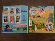 Blocs timbres croix-rouge de Tintin et d'Astérix. Neuf