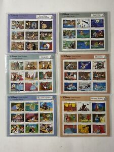 The Disney Classic Fairytales In Postage Stamps Sealed in Plastic FULL SET OF 6
