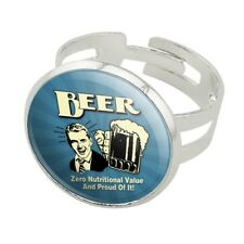 Beer Zero Nutritional Value Proud of it Silver Plated Adjustable Novelty Ring