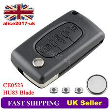 For Peugeot 207 307CC 407 407SW CE0523 3 Button Flip HU83 Key FOB Case Battery