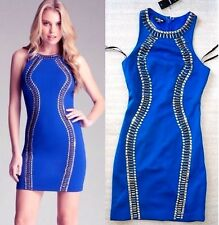 NWT bebe blue studded embellished neck racerback clubbing top dress XS 0 2 party