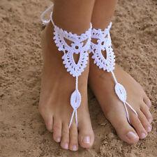 Wedding crochet Anklet Barefoot Beach Bridal Yoga Foot Jewelry Knit Sandal Sexy