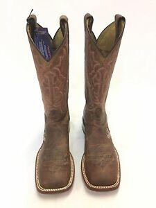 Women's Tony Lama Brown Square Toe Boots w/Pink Cross