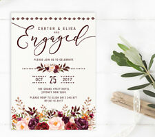 Rustic Floral Engagement Invitation Marsala Blush Roses Pre Wedding Party Invite