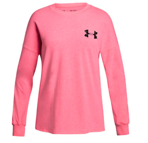 Under Armour Wordmark Long Sleeve Tee Color: Light Penta Pink, Size: Youth XL