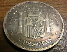 Alfonso XII 5 Pesetas 1879 EMM Rare Silver Crown like 8 Reales Toned!