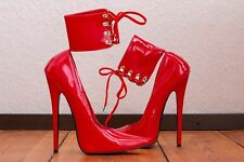 20 cm Sexy sky high heels 45 patent red pumps fetish La prima Extrem STRAPS