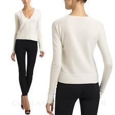 Wool Sweater winter White Womens Casual V Neck Cashmere Blend Pullover Size kala