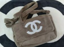 Brown CHANEL Furry Velvet Logo Cros