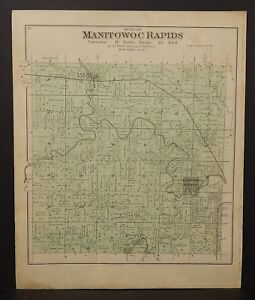 Wisconsin Manitowoc County Map Manitowoc Rapids Township 1893  J24#15