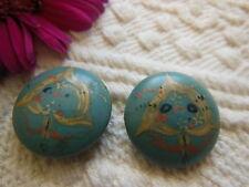 duo anciens boutons en bois peint bleu tete d'oiseau stylisé 2,1 cm D8K