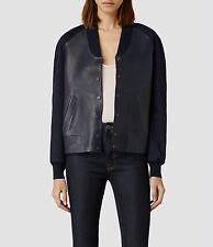 All Saints Ink Indigo Winsor Leather Bomber Biker Jacket UK 10 EURO 38 US 6 BNWT