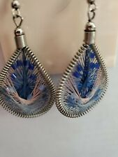 String Art Thread Blues & Pink & Beads Teardrop Fish Hook Pierced Earrings Er25