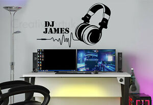 Personalised DJ Music Headset Wall Stickers Decals Murals Gaming Gamer Headset