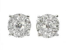 Round Cut Solitaire Cluster 8mm Diamond Stud Earrings in 14K White Gold (1.0ct)