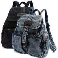 Women Denim Backpack Vintage Canvas Travel College School Student Rucksack Bag