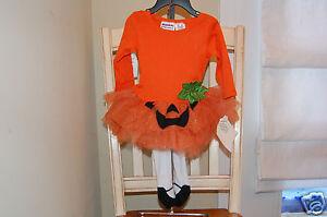 Blueberi Boulevard Baby Girl's Pumpkin Tutu Dress & Tights Set Sz. 12 M NEW