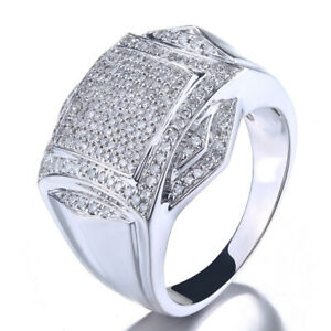 Exquisite Engagement Man Ring 0.88ct Natural Diamonds Band Solid 10K White Gold