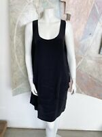 Garnet Hill Black Silk Tiered Flowy Tiered Scoop Neck Sleeveless Dress Size 16