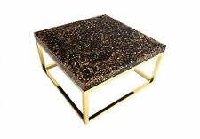 "32"" W Coffee Table Captured Gold Flake with Plated Brass Finish Base Resin 1239"