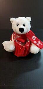 "Christmas Plush Polar Bear Stuffed Animal Red White Snowflake Scarf 2016 8"""