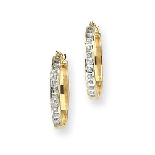 Ladies 14k Yellow Gold Diamond Hinged Polished Hoop Diamond Fascination Earrings
