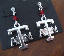 Texas A&M University Aggies CRYSTAL SILVER LOGO CHARM EARRINGS game day jewelry