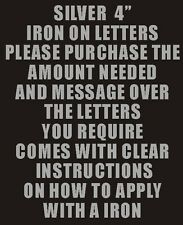 """Pack of 10 x 4"""" Silver Iron On Characters - Letters or Numbers Vinyl Printing"""
