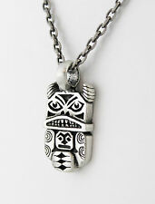 "Necklace 20"" Antiqued Silver Plated Chain Antiqued Pewter Totem 39 X 20 mm"