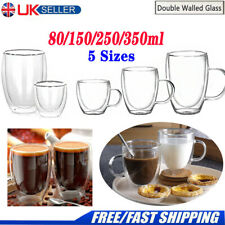 Double Walled Clear Glass Coffee Mugs Tea Cups Beer Thermal with Handles Cups UK