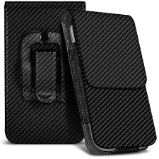 Veritcal Carbon Fibre Belt Pouch Holster Case For Samsung Galaxy S4 I9506