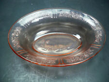 "Federal Glass Pink Sharon Cabbage Rose Depression 9 1/2"" Oval Vegatable Bowl"