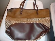 """Purse Extra Large Brown NWT Fabric Weave 14"""" X18"""" X7"""" New With Tags"""