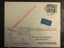 1929 Bydgoszcz  Poland Airmail First Flight Cover FFC to Katowice 150 Flown