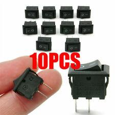 NEW 10Pcs 10x15mm SPST ON/OFF Switch Mini Black 2 Pin Rocker Switch DC 12V 16A