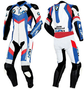 BMW Motorcycle Motorbike Racing Sports Pure Leather Suit Protected Blue White