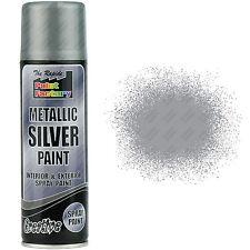 2 x Metallic Silver Spray Paint Interior & Exterior Spray Aerosol Can 250ml