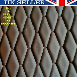 🇬🇧🌟  Brown  Quilted Faux Leather Fabric Diamond Car Campervan Upholstery Trim
