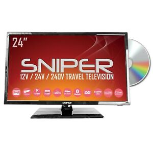 24″ HD LED Travel TV, built in DVD, Sat, Freeview, Bluetooth,12v /24v / 240v